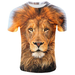 cool animal t shirts UK - Lion T Shirt Men Animal Tshirt Sex Funny T Shirts Slim 3d Print T-shirt Hip Hop Tee Cool Mens Clothing 2019 New Summer Top