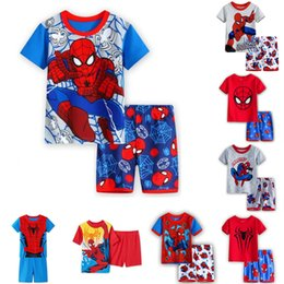 40289f72a5e 8 styles Spiderman kids clothes Baby Boys Short Sleeve Pajamas 2pcs Childrens  Sleepwear Pijamas Sets Tracksuit children clothing DHL JY293