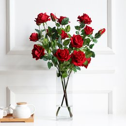artificial valentines gifts Canada - Artificial Flowers Roses Fake Flowers Wedding Bouquet Valentines Day Gift Present Home Decoration D19011101