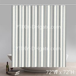 Wall Curtains UK - Geometric French Country Dove Gray Ticking Stripe Brick Wall Pattern Stone And Rock Wall Shower Curtain