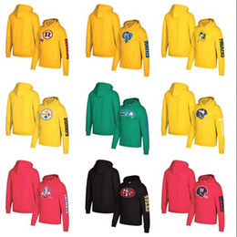 eagles hoodies Australia - Men Eagles Dolphins Broncos Cowboys Bears Seahawks Giant Mitchell&Ness Classic Team Pullover Hoodie-Yellow Green Red Black