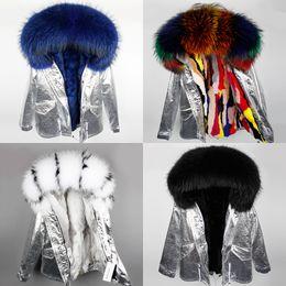 Wholesale Raccoon Fur Collars Australia - Women's Iron silver short jacket Rex Rabbit furs Liner removable and Raccoon fur Collar Maomaokong Brand