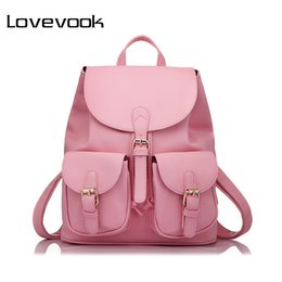 Styles Backpacks Australia - LOVEVOOK Brand Preppy Style School Backpack Artificial Leather Fashion Women Shoulder Bag With Two Solid Pocket For Teens Girls