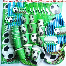 party themes decorations Australia - 81 Pcs Football Baby Boy Cup Plate Straw Napkin Banner Happy Birthday Kids Baby Shower Paper Party Decoration Set Theme Supplies
