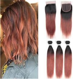 $enCountryForm.capitalKeyWord Australia - Dark Auburn Ombre Brazilian Human Hair 3Bundles with Closure Straight #1B 33 Copper Red Ombre 4x4 Lace Closure Piece with Weave Bundles