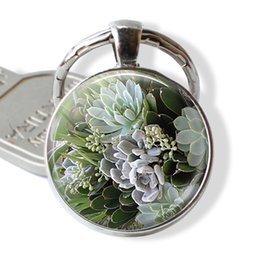 silver plants NZ - Succulents Key Chain Handmade Glass Cabochon Desert Jewelry Gifts for Plant Lovers Fashion Silver Plated Accessories