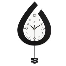 water calendar 2021 - Simple water drop shape Swing wall clock Nordic style wooden sway home watch clock living room porch decorative