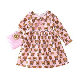 AnimAls beAr online shopping - Retail baby girl dresses lapel doll bear printed ruffle princess dresses for kids designer clothes girls Dress children boutique clothing
