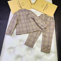 $enCountryForm.capitalKeyWord Australia - boys kids clothes brand 100%Cotton lattice coat causal jacket autumn Clothing sets 2019 kids outfits 2pcs Suits baby clothes kids jackets