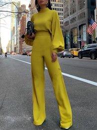 $enCountryForm.capitalKeyWord Australia - 2019 Women Elegant Fashion Slim Fit Yellow Solid Skinny Casual Overalls Office Look Work Lantern Sleeve Mock Neck Jumpsuits MX190726