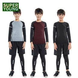 boys sport clothing set NZ - Children Sports Training Clothes Mens Running Basketball Fitness Tights Kids Gym Wear Clothing Boy Jogging Suits Compression Set
