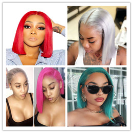 Long hair bobs online shopping - Lace Front Wig Blue Colored Remy Red Human Hair Full Ends Transparent Frontal Closure Swiss Lace Short Bob Wigs Rosy Red Pink Colors Short B