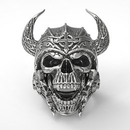 $enCountryForm.capitalKeyWord Australia - New European Skull Armor Warrior Finger Rings For Men Fashion Spartan Helmet Signet Rings Male Jewelry Dropshipping