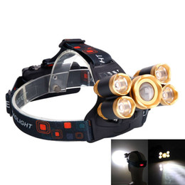 4 Modes Newest 3.7V 2400LM 5T6 Flexible LED Zoom Highlight IPX4 2400LM Outdoor Aircraft Headlamp Golden