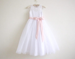 China Flower Girl Dress Little Girl Princess Clothing Long Lace Skirt Baby Bridesmaid For Formal Wedding Occasion Wish Sash Princess Bow Brithday suppliers