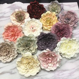 Black white Birthday party supplies online shopping - 5PCS Peony Flower Heads Decorative Scrapbooking Artificial Flower for Home Wedding Birthday Party Decoration Supplies Fake Plant