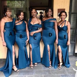 $enCountryForm.capitalKeyWord Australia - Beautiful Teal Blue Convertible Bridesmaids Maid Of Honor Dresses 2019 One Shoulder Sexy High Slit African Wedding Dress For Bridesmaid Long