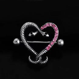 7b017167139af9 Double Snake Head Nipple Piercing Sexy Serpentine White Pink Heart Shaped  Nipple Rings Body Jewelry Women Bar Barbell Piercing
