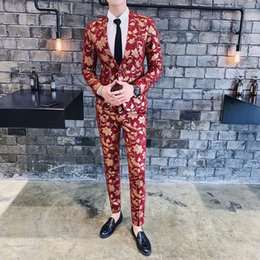 Red Blue Suits Australia - 2 Piece Mens Suit With Pants Men Tweed Blue Red Floral Streetwear Groom Tuxedo Suits for Wedding Costume Homme Christmas 2019