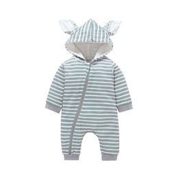 Cartoon Rabbit Hoodies UK - Autumn Baby Boys Girls Clothes Cartoon Rabbit Ears Romper Hoodie Jumpsuit Casual Outfits