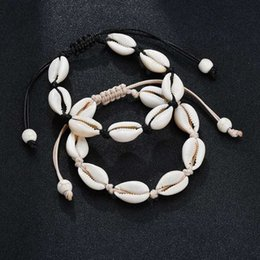 Discount handmade beaded bracelets - Hot Sale Handmade Natural Seashell Hand Knit Bracelet Adjustable Rope Shells Bracelets Women Accessories Beaded Strand B