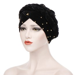 Braided Hair Wraps UK - Muslim Women's Braid Velvet Turban Hat Bead Chemo Beanies Wrap Plated Cover Headwear for Cancer Patients Hair Accessories