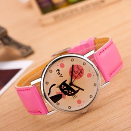 fashion watch black cat girl 2019 - Casual Girl Gift Watches Cute Fashion Cat Pattern Dial Plate PU Leather Strap Wristwatches Wholesale Students Quartz Wat