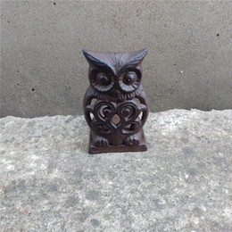 $enCountryForm.capitalKeyWord Australia - 4 Pieces Vintage Cast Iron Tea Light Holder Metal Owl Candle Holder Home Garden Porch Courtyard Yard Decor Brown Candle Stand Table Retro