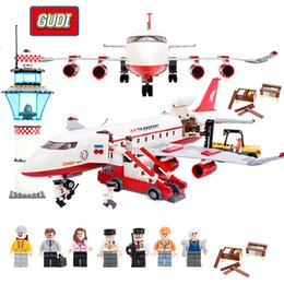 Large Plastic Blocks Australia - Block City Large Passenger Plane Airplane Block Assembly Compatible LegoINGly Building Blocks Educational Toys For Children