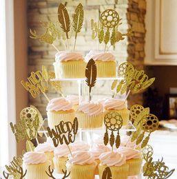 $enCountryForm.capitalKeyWord Australia - Custom personality cheap Glitter Wild One Boho Dream Catcher Birthday Cupcake Topper. Cupcake Decoration. Secret Garden Party Decoration