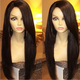 italian yaki virgin hair Australia - 9A Italian Yaki Full Lace Wig With Baby Hair Yaki Straight Lace Front Wigs For Black Women Brazilian Virgin Human Hair Wigs
