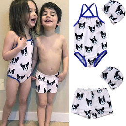 $enCountryForm.capitalKeyWord Australia - 2018 Brand New Toddler Infant Child 2pcs Kids Baby Girl Boys Matching Swimsuit Swimwear Bulldog Swim Shorts Hat 2Pcs Set 1-6T