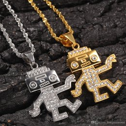 party robots UK - Hip Hop Cubic Zirconia Bling Ice Out Cartoon Dancing Robot Pendants Necklaces for Men Rapper Jewelry Gold Silver