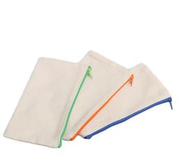 Pens Pencils Case Organizer Australia - 21x9cm DIY White canvas blank plain zipper Pencil pen bags stationery cases clutch organizer bag Gift storage pouch