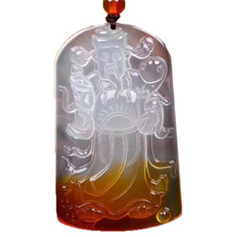 necklaces pendants Australia - Fine Jewelry Natural Ice Agate Chalcedony Wealthy Pendant Red and White Color Fortune God Jade Pendant Necklace