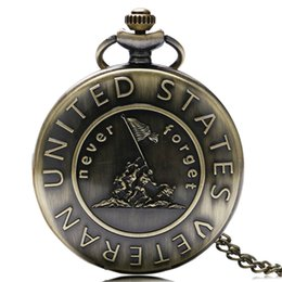 Wholesale Antique Army Theme Pocket Watch Bronze USA Soldiers Carving Slim Chain Never Forget Script Memorial Gifts for Students Veterans