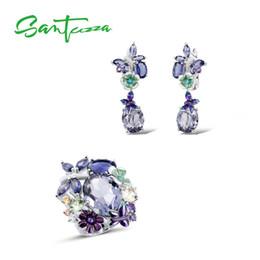 PurPle stone necklace set online shopping - SANTUZZA Silver Jewelry Set For Women Sterling Silver Butterfly Purple Stones Ring Earrings Fashion Jewelry HANDMADE Enamel