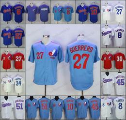 Vintage baseball jerseys online shopping - Montreal Expos Vladimir Guerrero Gary Carter Andre Dawson Baseball Jersey Vintage Blue Navy Mesh BP Retro California