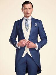 ClassiC tuxedo styles online shopping - Tailcoat Morning Style Groomsmen Peak Lapel Groom Tuxedos Men Suits Wedding Prom Dinner Best Man Blazer Jacket Pants Tie Vest G270
