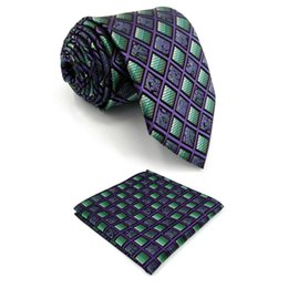 $enCountryForm.capitalKeyWord NZ - Purple Green Checkes Mens Necktie X-long Silk Brand New Fashion Classic Pocket Square Set