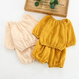 Long Woolen Shirts Girls Australia - INS Summer Toddler Kids Girls Suits with Bloomers 2pieces Set Blank Yellow Beige Long Sleeve Organic Cotton Autumn Kids Clothing for 0-2T