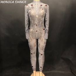 578da948ab9 Women Sexy Stage Bling High Grade Jumpsuit Net Yarn Full Of Glass Sparkling  Crystals Pearls Bodysuit Nightclub Party Stage