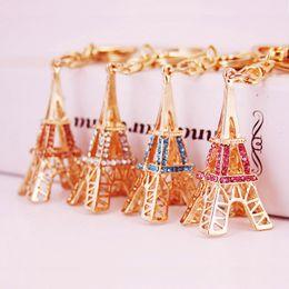 Jewelry france paris online shopping - Cute Crystal Eiffel Tower Metal Keychain Paris France Charm Pendant Key Chain Women Men Car Key Ring Girlfriend Jewelry Gift