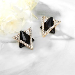 resin crosses for Canada - Hot Sale Rhinestone Triangle Earring Black Color Resin Crystal Stud Earrings For Women Fashion Accessories Jewelry Wholesale