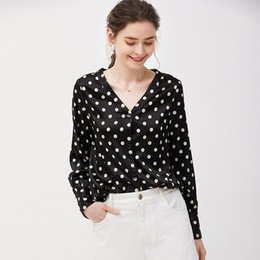 ef8a6ea5811db2 Real silk series Womens Polka Dot blouse V-neck Black shirts lace blouse  women long sleeve shirts chiffon tops Fine quality