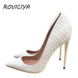 1c112d3e9e5 White Pumps Famous Brand Designer Shoes for Women Snake s Pattern Pointed  Toe Sexy High Heels 12 cm plus size YG021 ROVICIYA
