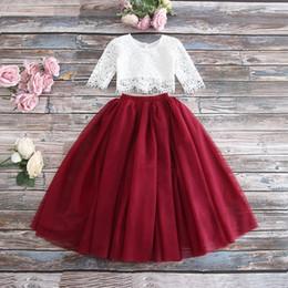 4303d8787c3 2019 весна лето комплект одежды для девочек с половиной рукавом кружевной  топ + шампанское розовая длинная юбка детская одежда 0-10 т E17121
