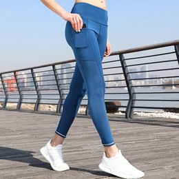 Tight White Yoga Pants Australia - Women's Stretch Sport Leggings High Waist Out Pockets Yoga Pants Laser Cut Workout Gym Tights White Reflective Running Pants #135113