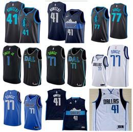 2018 - 2019 allas Mavericks 41 Nowitzki 77 Doncic 1 Smith jr. Embroidery  Logo City Edition Jersey. 7d17a4133