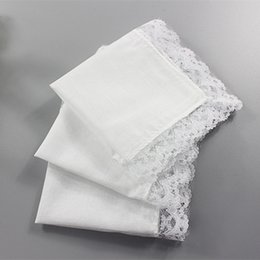 White Cotton Napkins Australia - 50PCS Personalized White Lace Square Handkerchief Woman Wedding Gifts Wedding Decoration Cloth Napkins 25 *25cm